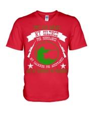 i am sniper gamer V-Neck T-Shirt front