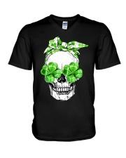 SHAMROCK SKULL V-Neck T-Shirt thumbnail