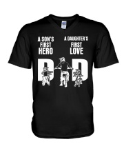 A SON'S FIRST HERO A DAUGHTER'S FIRST LOVE   V-Neck T-Shirt thumbnail