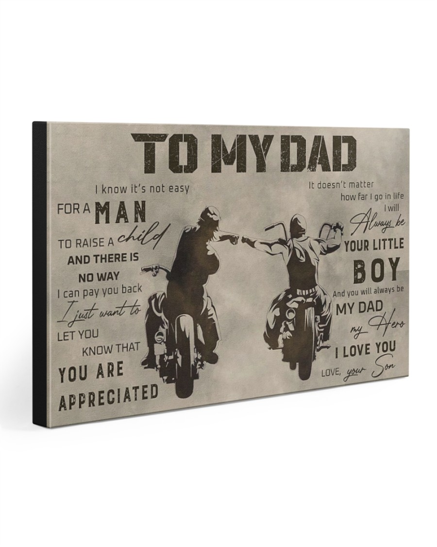 TO MY DAD - BIKER- MB284 30x20 Gallery Wrapped Canvas Prints