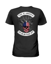 THIS IS AMERICA FIT IN OR FUCK OFF Ladies T-Shirt thumbnail