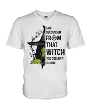 I AM DESCENDED FROM THAT WITCH V-Neck T-Shirt thumbnail