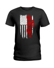 BIKE AMERICAN FLAG - MB244 Ladies T-Shirt thumbnail