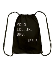 YOLO JK BRB Jesus T-shirt Christian Drawstring Bag tile