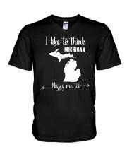 I Like To Think Michigan Misses Me Too Shirts V-Neck T-Shirt thumbnail