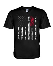American Flag and Motorcycle T-Shirt V-Neck T-Shirt tile
