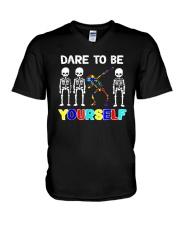 Sleketon Dabbing Autism Awareness  V-Neck T-Shirt thumbnail