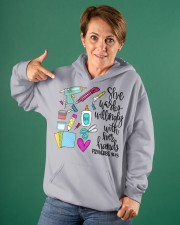 SHE WORKS WILLINGLY WITH HER HAND - SCRAPBOOKING Hooded Sweatshirt apparel-hooded-sweatshirt-lifestyle-front-88