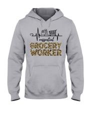 heart beat - essential - grocery worker Hooded Sweatshirt front
