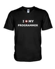I LOVE MY PROGRAMMER V-Neck T-Shirt tile