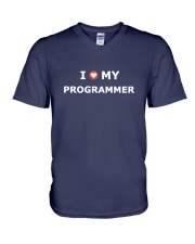 I LOVE MY PROGRAMMER V-Neck T-Shirt front