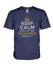 Let the programmer V-Neck T-Shirt front