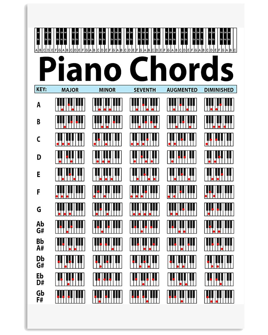 Piano Chords Pianist Music Theory Funny Musician 16x24 Poster