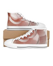 Soft Pink Floral Print Men's High Top White Shoes thumbnail