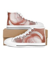 Soft Pink Floral Print Women's High Top White Shoes thumbnail