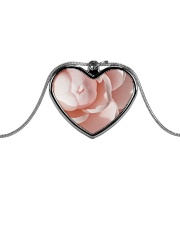 Soft Pink Floral Print Metallic Heart Necklace front