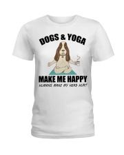 Dogs and yoga make my happy Ladies T-Shirt thumbnail