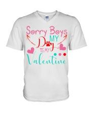 Sorry boys my dog is my valentine V-Neck T-Shirt thumbnail