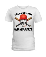 DOGS AND BASEBALL HAPPY Ladies T-Shirt thumbnail
