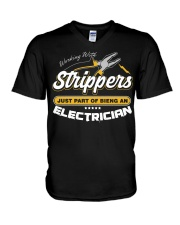 Electrician Working With Stripper V-Neck T-Shirt thumbnail