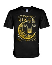 I Love My Biker To Ther Moon And Back V-Neck T-Shirt thumbnail