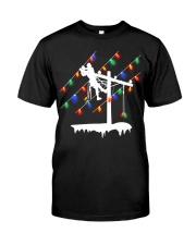 Lineman Pole Christmas Light Premium Fit Mens Tee thumbnail