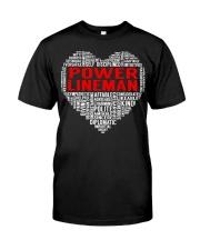 Power Lineman Heart Classic T-Shirt front