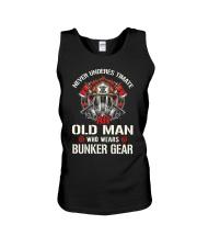 Firefighter Never Underestimate Old Man Bunker Unisex Tank thumbnail