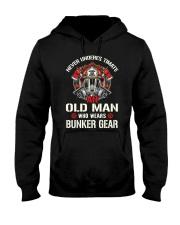 Firefighter Never Underestimate Old Man Bunker Hooded Sweatshirt thumbnail