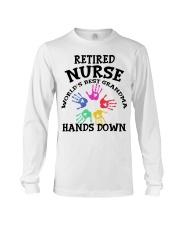 Retired Nurse World's Best Grandma Hands Down Long Sleeve Tee thumbnail
