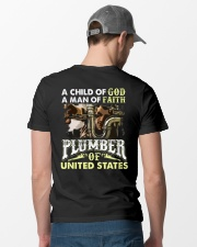 Plumber A Child Of God A Man Of Faith Classic T-Shirt lifestyle-mens-crewneck-back-6
