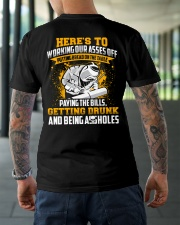 Here's to working our asses off Putting bread Classic T-Shirt lifestyle-mens-crewneck-back-3