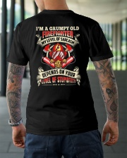 I'm A Grumpy Old Firefighter My Level Of Sarcasm Classic T-Shirt lifestyle-mens-crewneck-back-3
