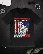 Firefighting Is All About Ass Busting Ours To Save Classic T-Shirt lifestyle-mens-crewneck-front-16