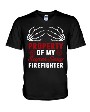 Property Of My Super Sexy Firefighter V-Neck T-Shirt thumbnail