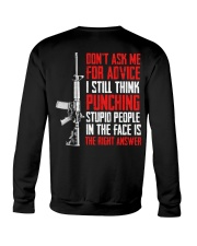 Veteran Don't Ask Me For Advice Punching Is Right Crewneck Sweatshirt thumbnail
