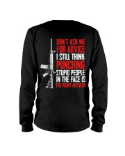 Veteran Don't Ask Me For Advice Punching Is Right Long Sleeve Tee thumbnail