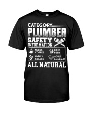 Category Plumber Safety Information Needs Coffee L Classic T-Shirt front