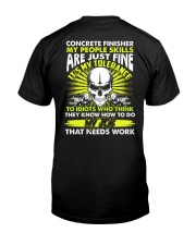 Concrete Finisher It's My Tolerance Classic T-Shirt back