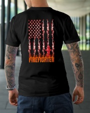 American Flag Firefighter Classic T-Shirt lifestyle-mens-crewneck-back-3