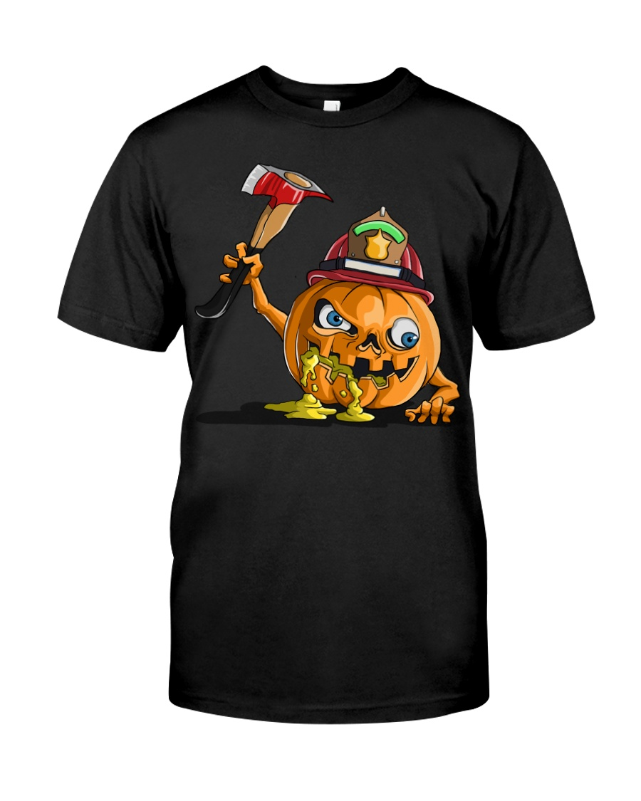 Firefighter Scary Face Pumpkin Classic T-Shirt