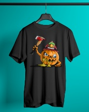 Firefighter Scary Face Pumpkin Classic T-Shirt lifestyle-mens-crewneck-front-3