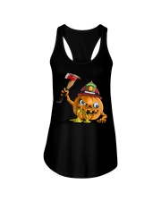 Firefighter Scary Face Pumpkin Ladies Flowy Tank thumbnail