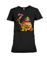 Firefighter Scary Face Pumpkin Premium Fit Ladies Tee thumbnail