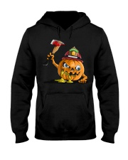 Firefighter Scary Face Pumpkin Hooded Sweatshirt thumbnail