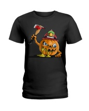 Firefighter Scary Face Pumpkin Ladies T-Shirt thumbnail