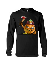 Firefighter Scary Face Pumpkin Long Sleeve Tee thumbnail