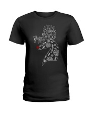 Firefighter Reindeer Merry Christmas Ladies T-Shirt thumbnail