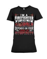I'm A Firefighter - Level Of Stupidity Premium Fit Ladies Tee thumbnail