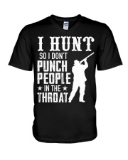 I Hunt So I Dont Punch People In The Throat V-Neck T-Shirt thumbnail